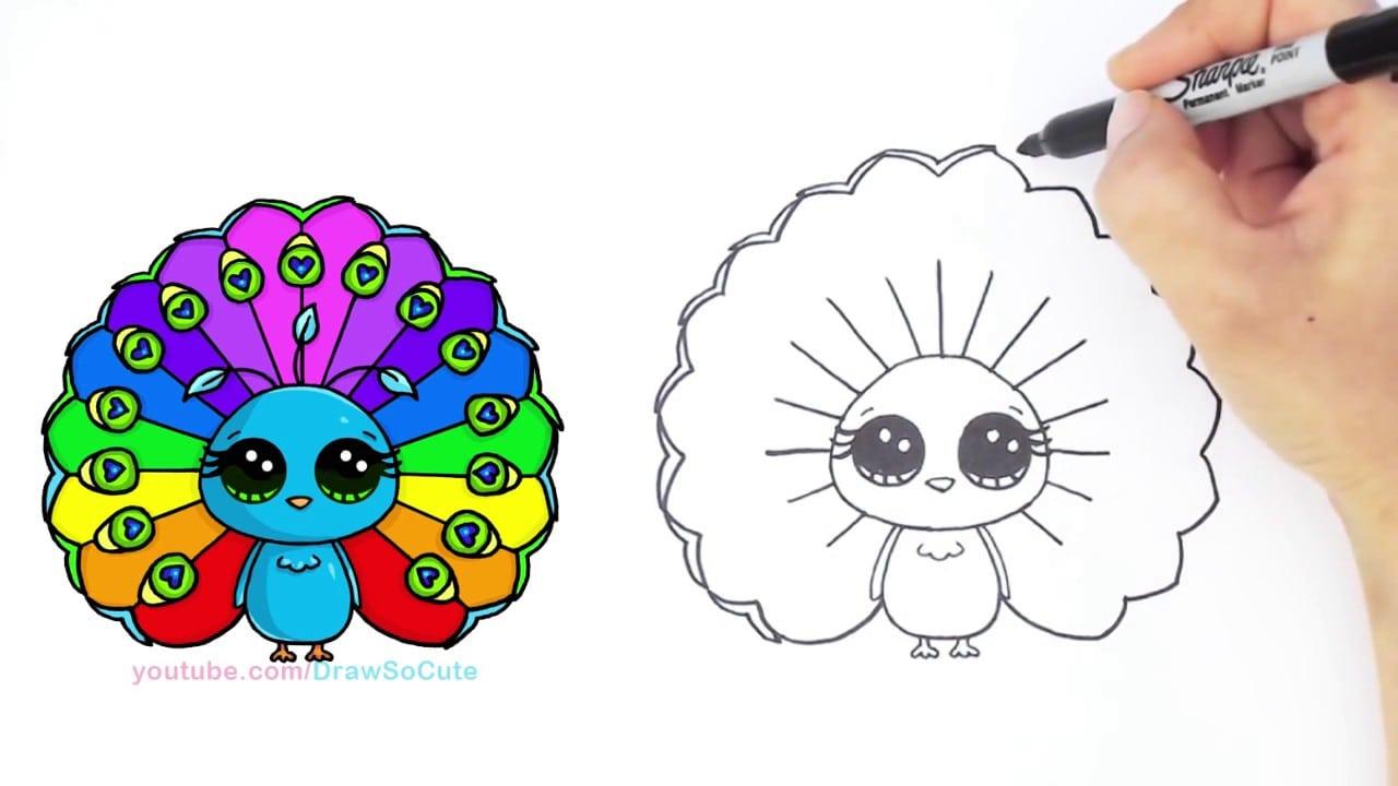Como Desenhar Desenhos Animados Pavão Bonito Passo A Passo
