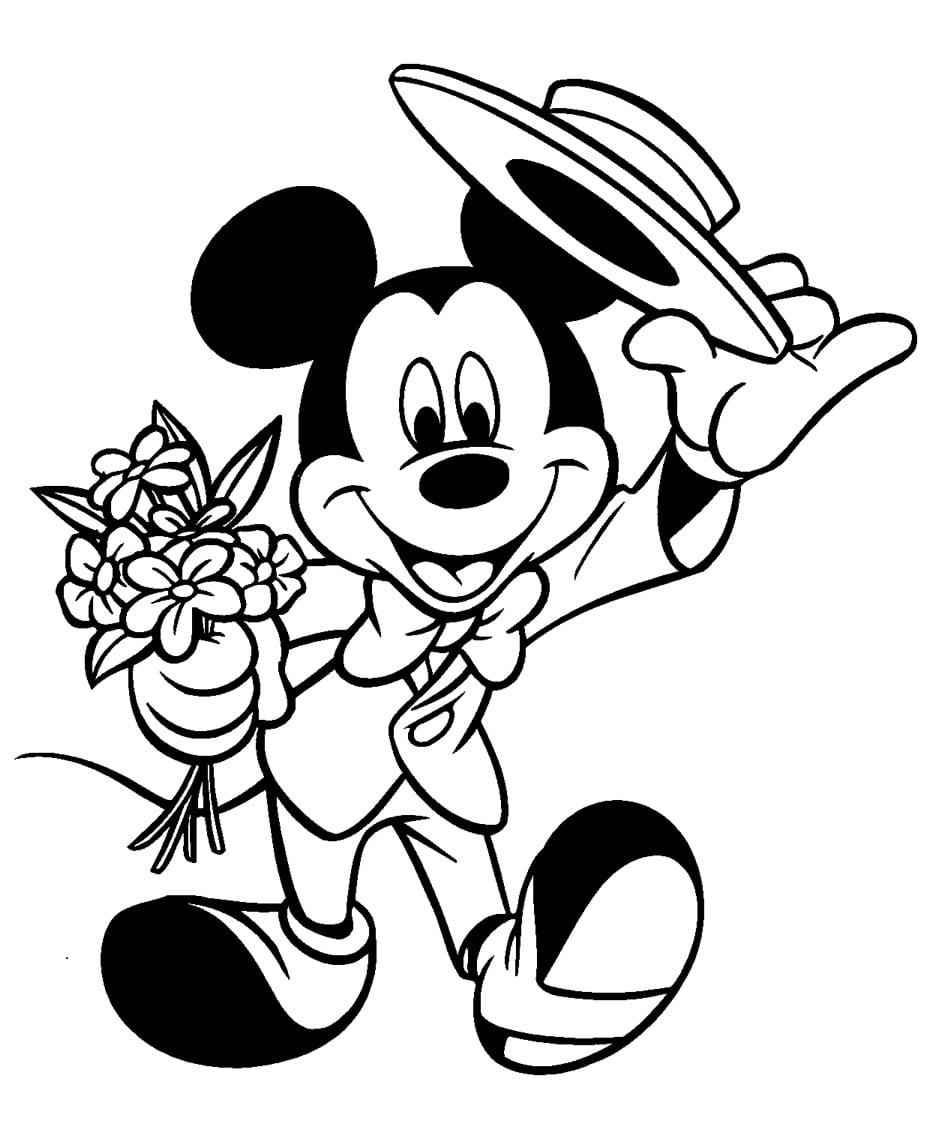 Desenho De Mickey Romântico Para Colorir
