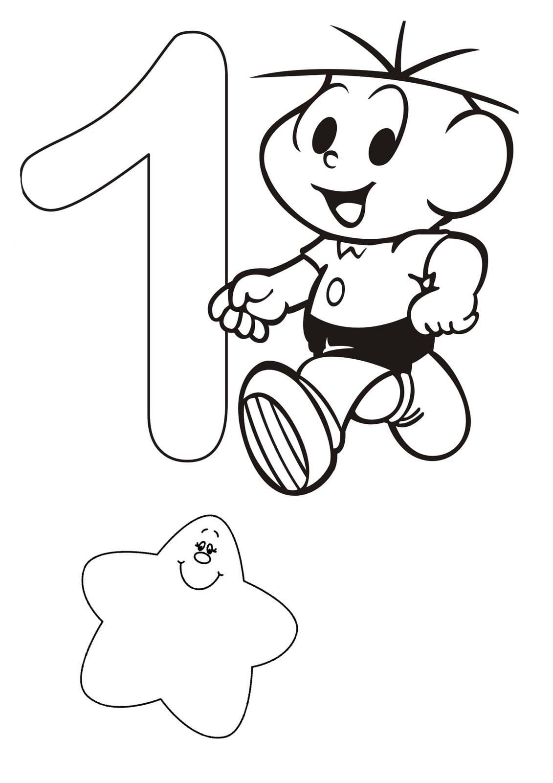 Desenho De Número 1 Turma Da Monica Para Colorir