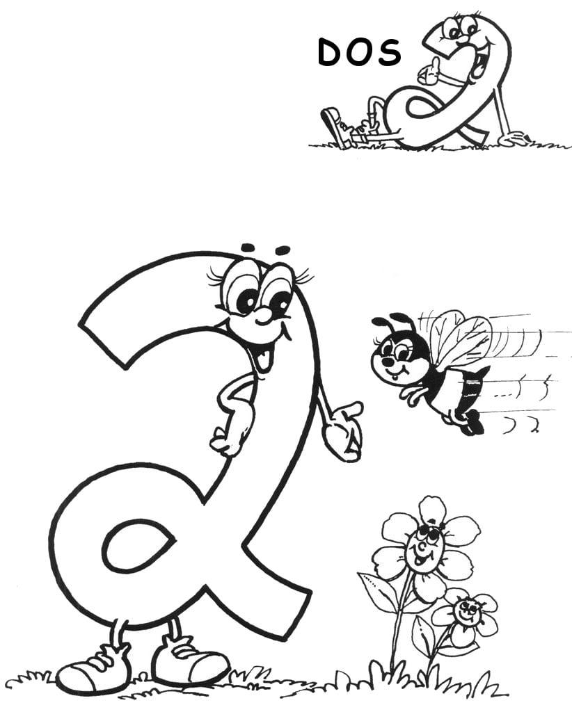 Desenho De Número 2 Em Espanhol Para Colorir