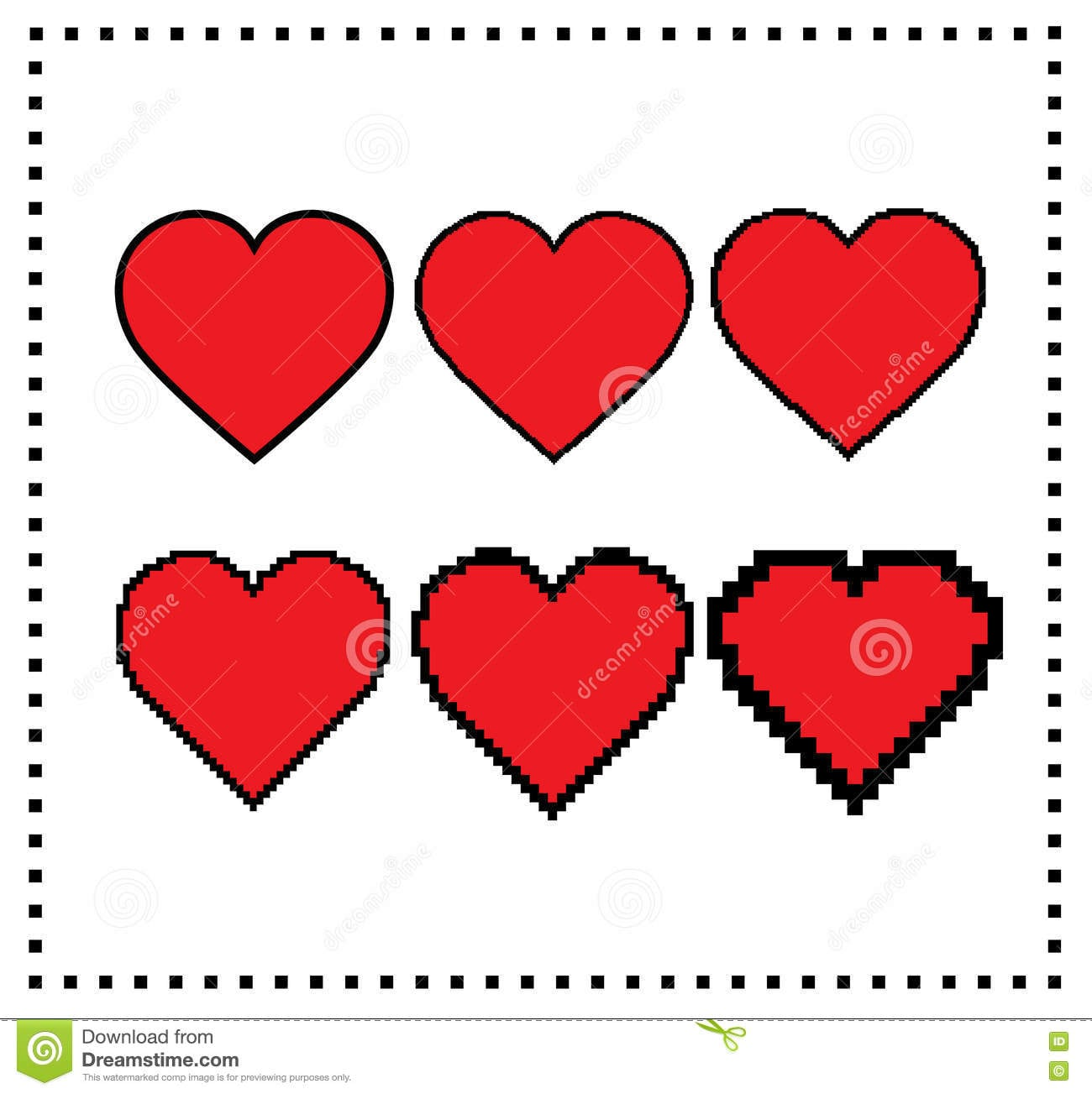 Pixel Art Hearts Tamanho Diferente Do Pixel  Coração Grande Do