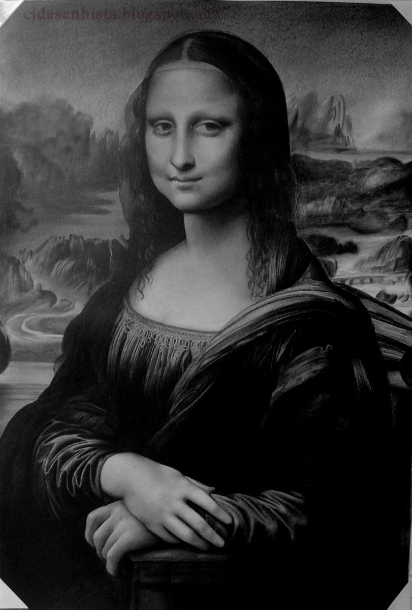 Quadro Monalisa Desenhada à Lápis No Tamanho Original