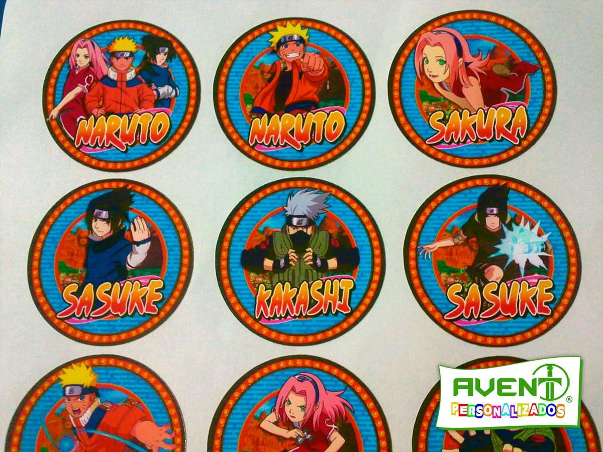 Rótulo Folha 5x5 Personagens De Naruto