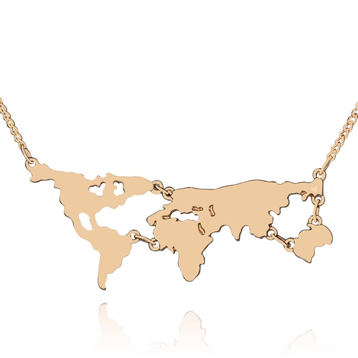 Colar Mapa Mundo, Cor Ouro, Importado