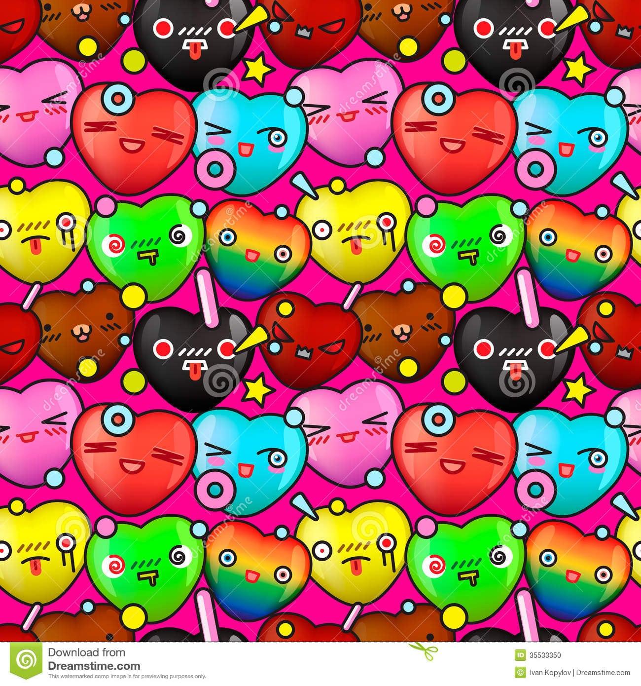 Teste Padrão Sem Emenda Dos Desenhos Animados Bonitos Coloridos