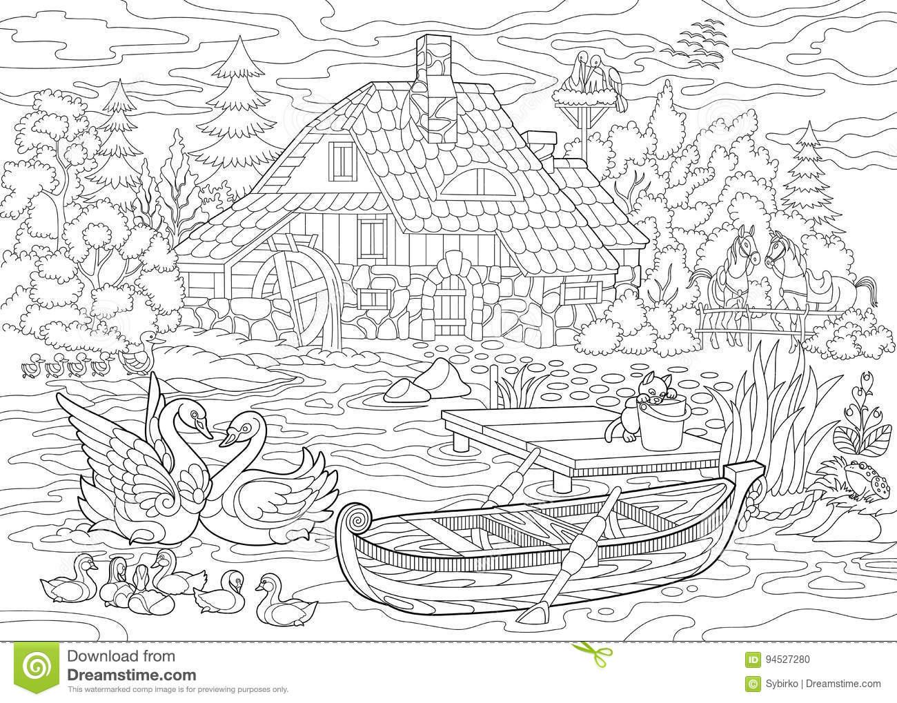 Zentangle Estilizou A Paisagem Rural Ilustração Do Vetor