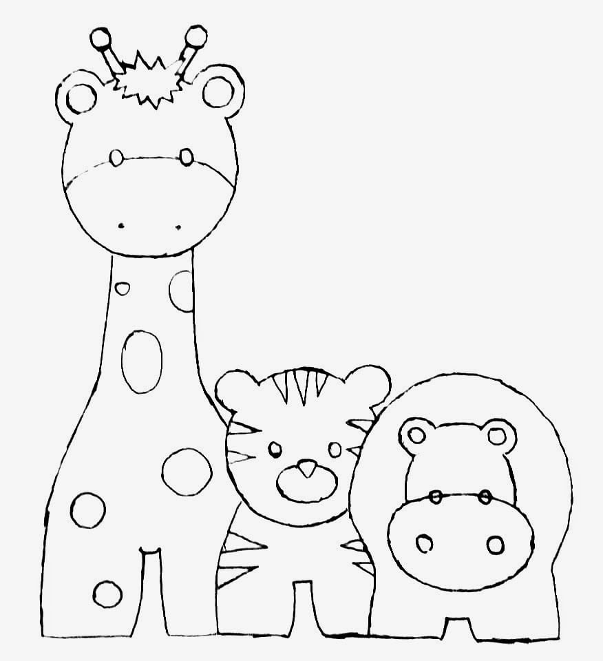 Desenho De Girafa, Tigre E Hipopotamo Para Pintar Em Fraldas
