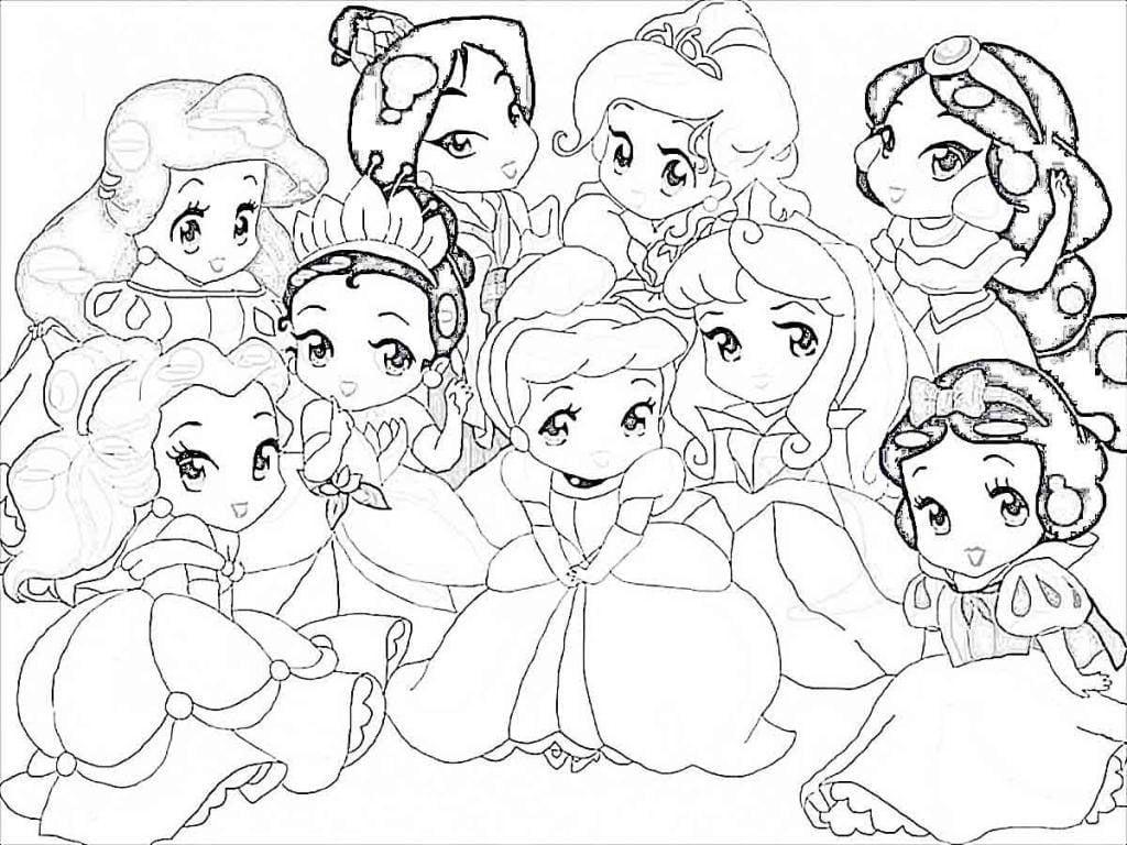 Desenho De Princesas Da Disney Baby Para Colorir