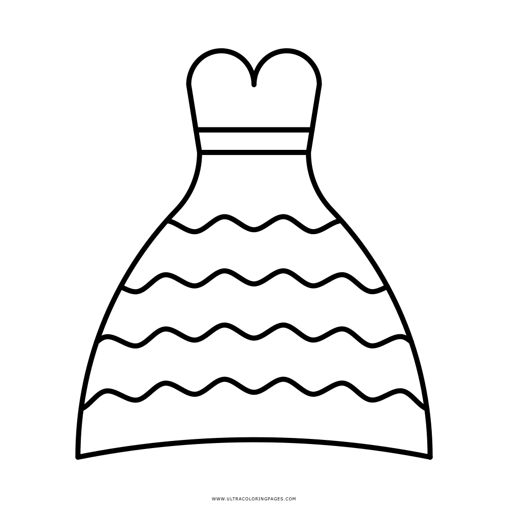 Vestido De Casamento Desenho Para Colorir
