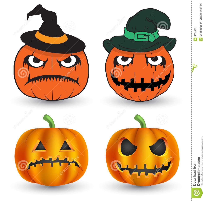 Abóboras De Halloween Ajustadas Ilustração Do Vetor