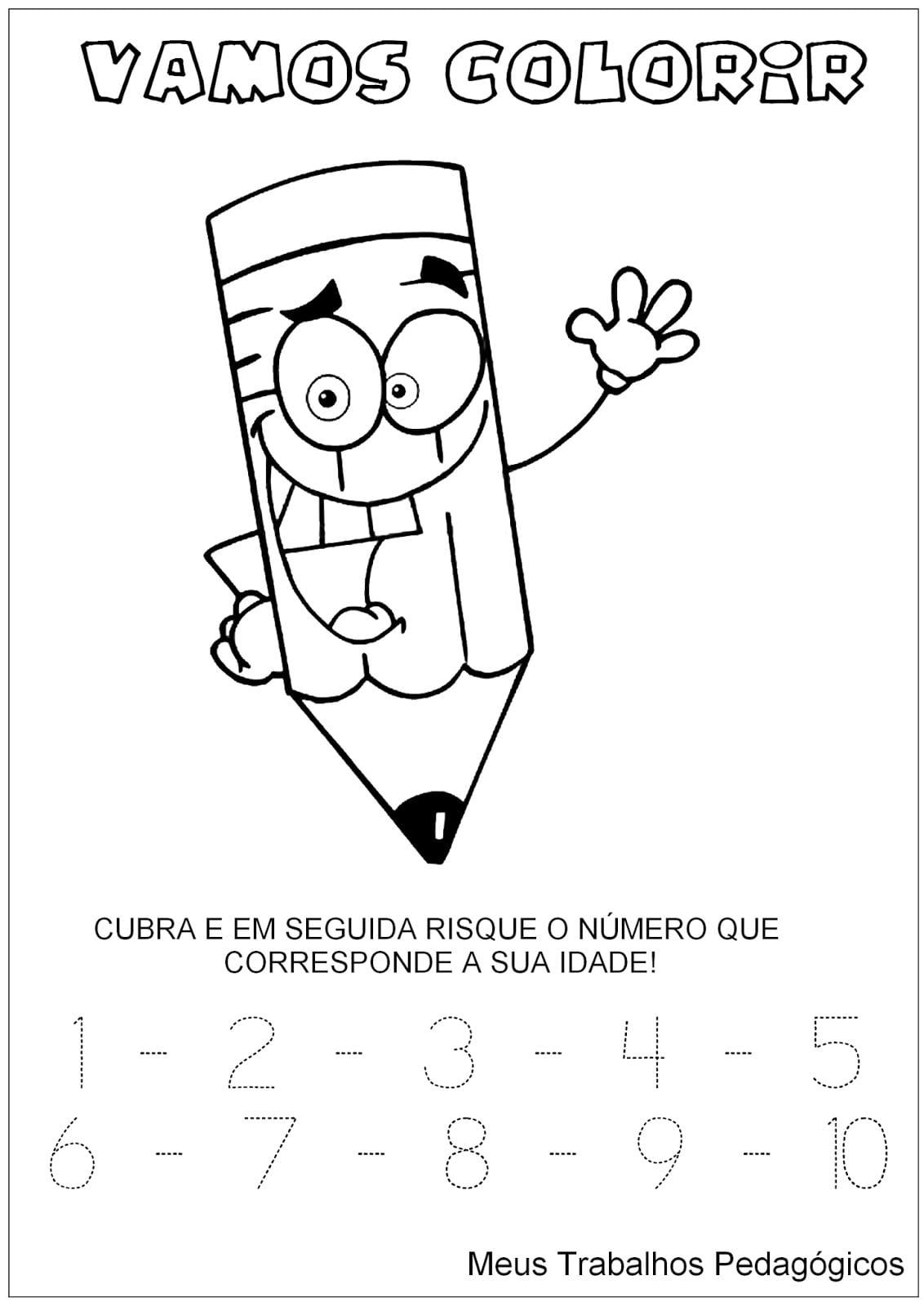 Numero 6 Colorir  Nmero Seis  Desenhos Numero Quatro Com Ursinho