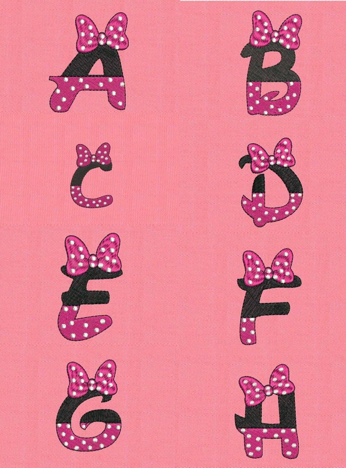 Alfabeto De Minnie Pintura Tecido