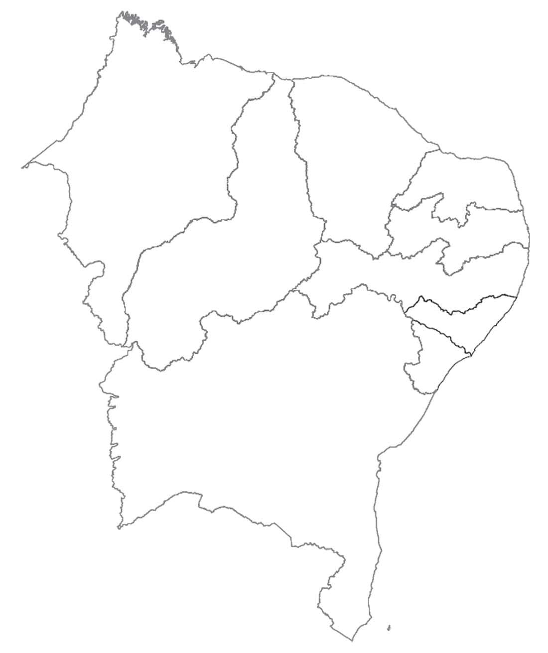Mapa Do Nordeste Para Colorir