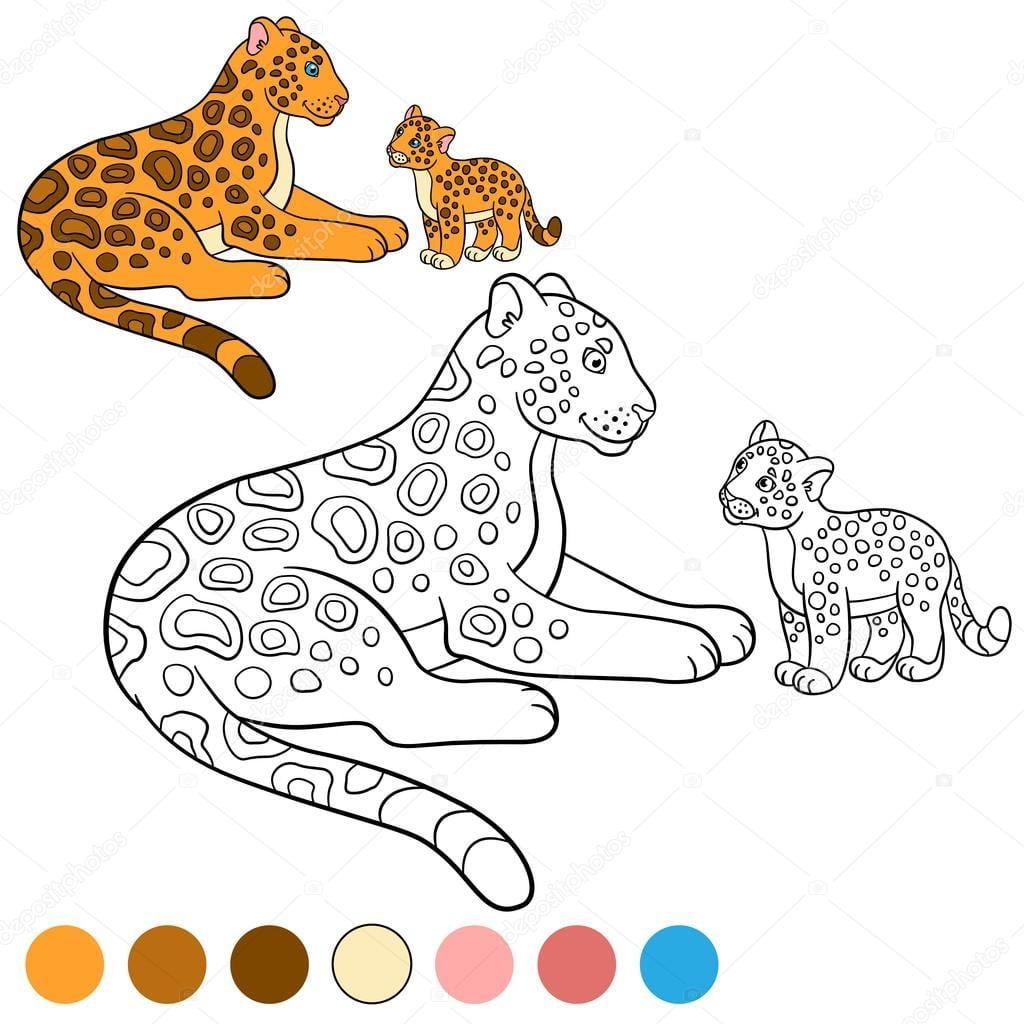 Página Para Colorir Com Cores  Mãe Onça Com Seu Filhote — Vetor De