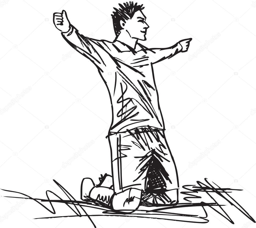 Desenho De Jogador De Futebol Feliz Está Comemorando Um Gol