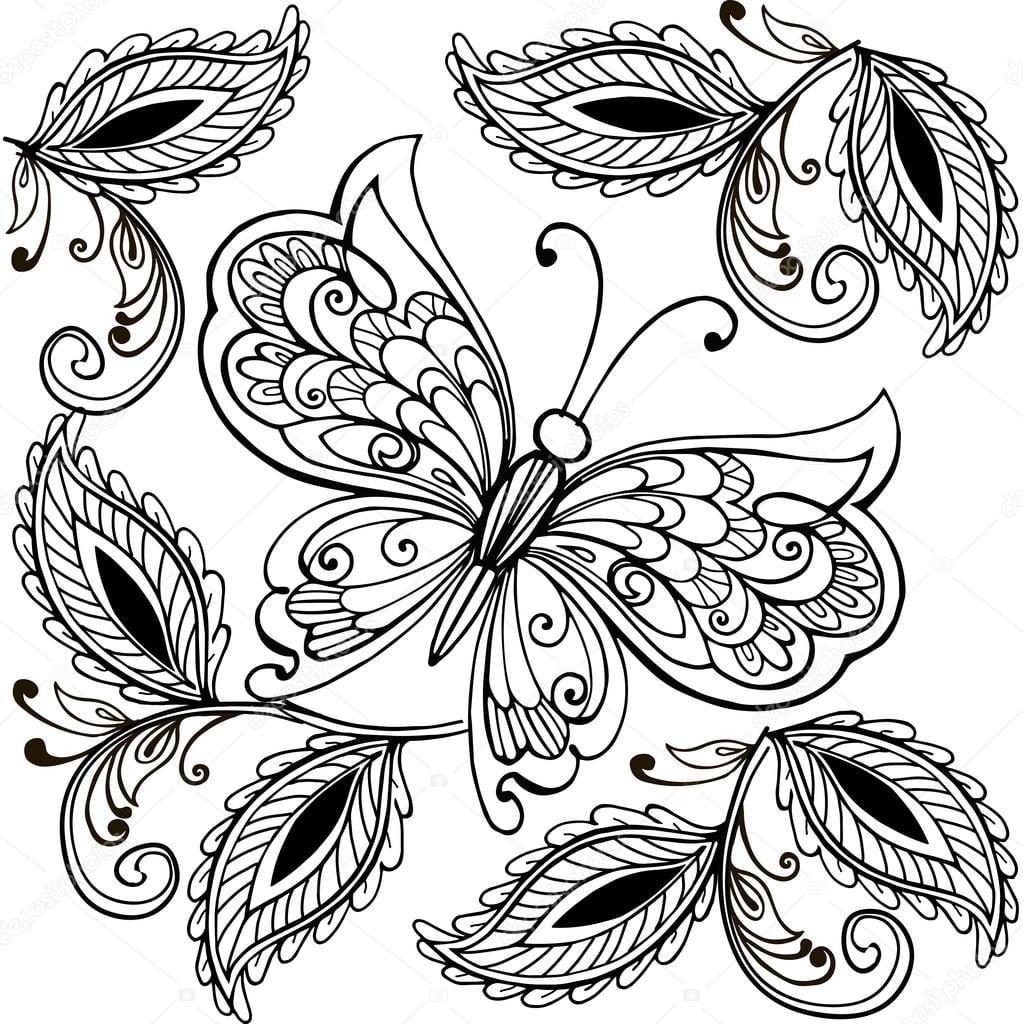 Mão De Borboleta Desenhada E Folhas Decorativas Adulto Anti