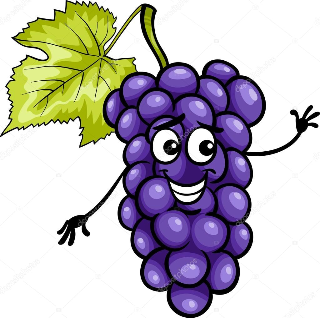 Frutas Uvas Azul Engraçada Dos Desenhos Animados Ilustração