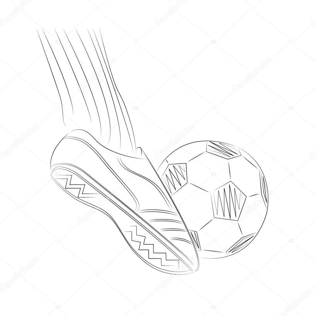 Ilustração Do Desenho Do Pé Do Jogador De Futebol Na Bola De