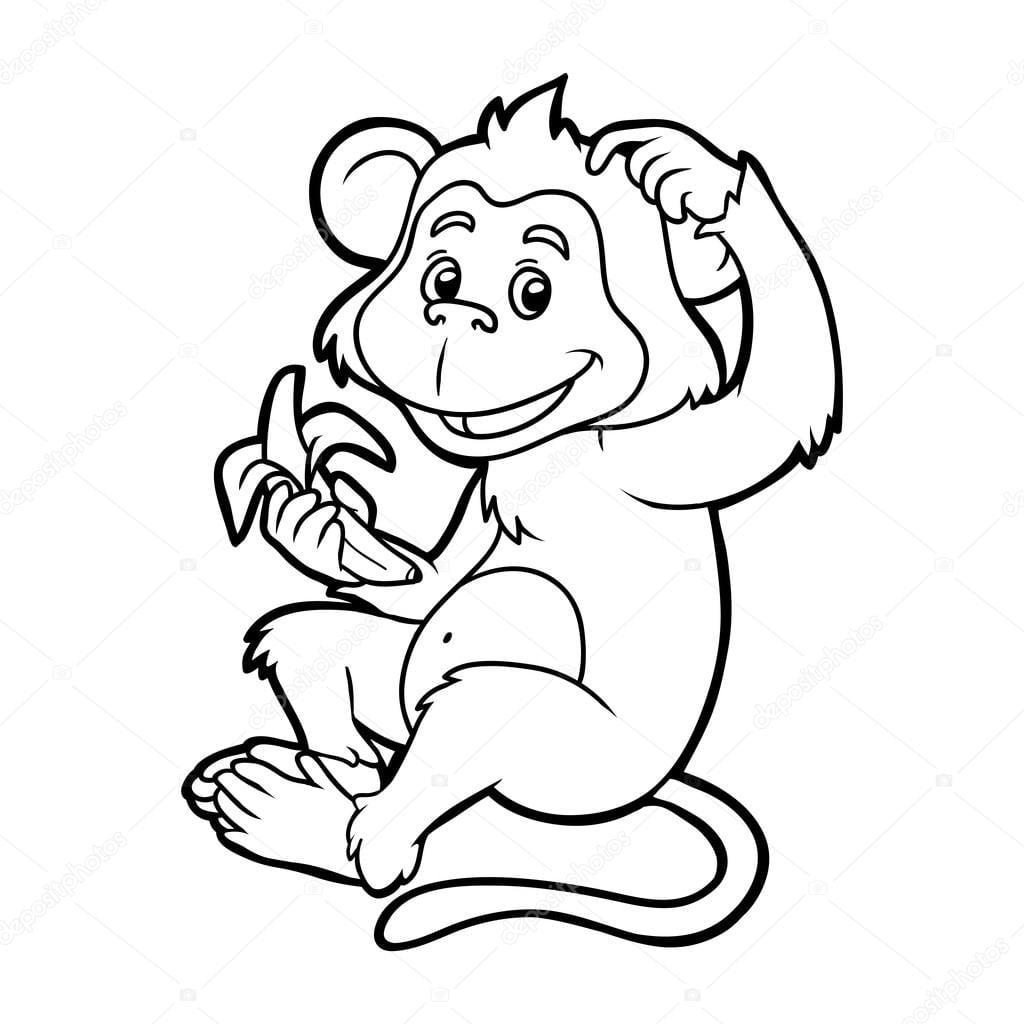 Livro De Colorir Para Crianças  Macaco — Vetor De Stock