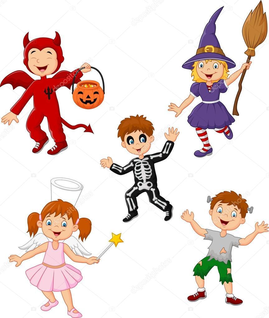 Conjunto De Crianças Desenhos Animados Usando A Coleção De