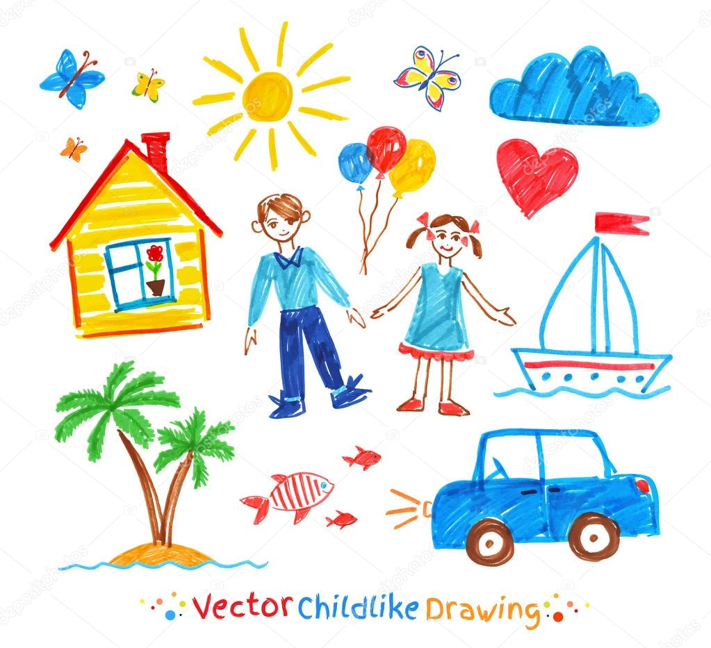 Conjunto De Desenhos Infantil — Vetores De Stock