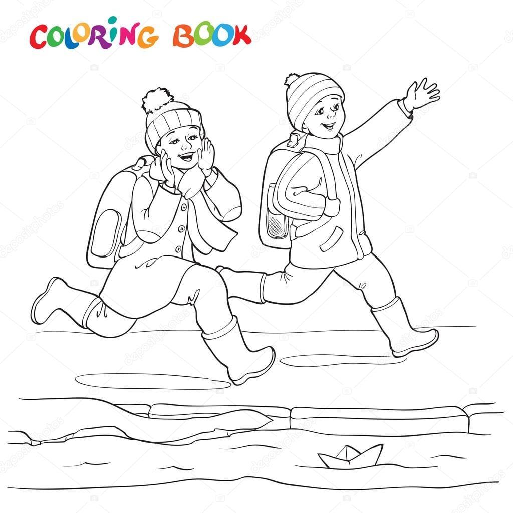Livro De Colorir Ou Página  Dois Menino Alegre Correndo As Poças