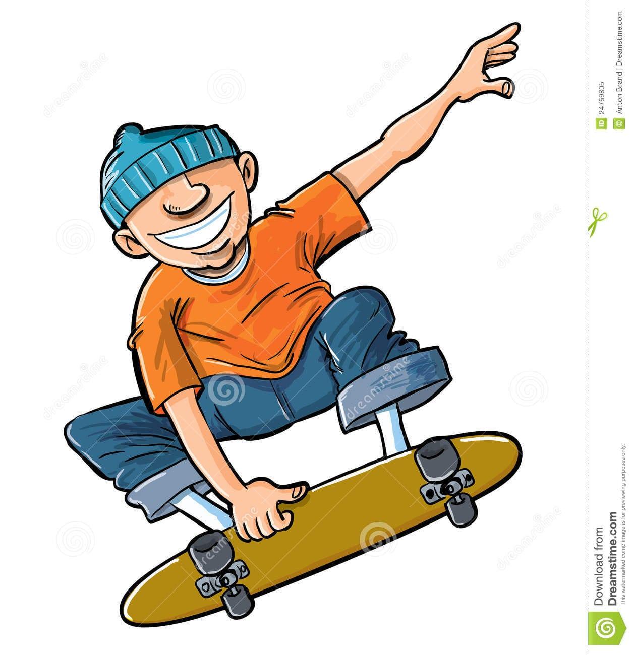 Desenhos Animados Do Menino Que Saltam Em Seu Skate  Ilustração
