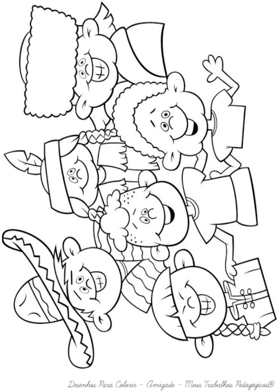 Meus Trabalhos Pedagógicos ®  Desenhos Para Colorir Dia Da Amizade