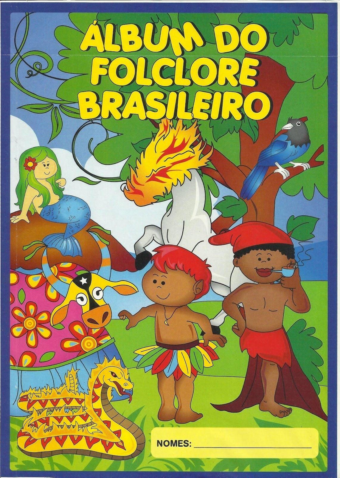 Atividade  Álbum Do Folclore Colorido Com Personagens Folclóricos