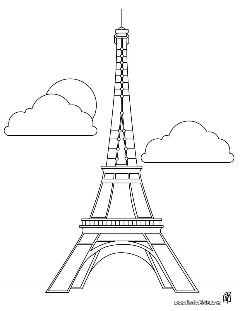 Desenhos Para Colorir De Desenho Da Torre Eiffel Para Colorir