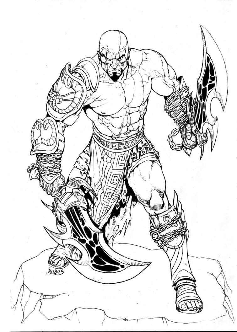Desenho De Kratos E Suas Armas Para Colorir