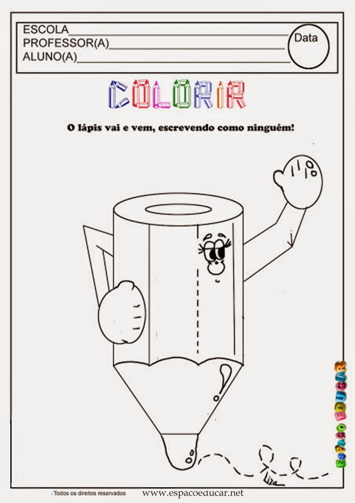EspaÇo Educar  Desenho De Lápis Para Colorir, Pintar, Imprimir