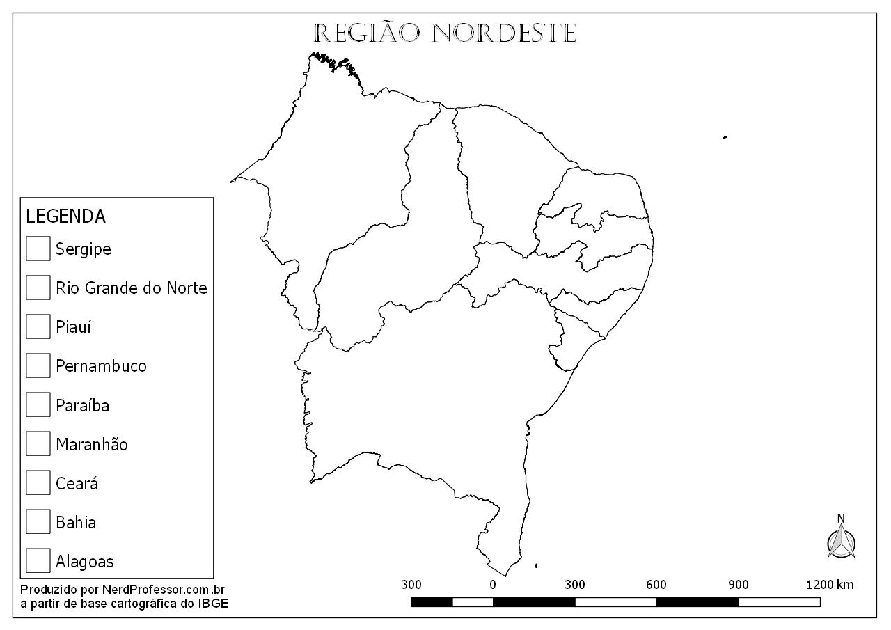 Mapa Região Nordeste Para Colorir – Nerd Professor