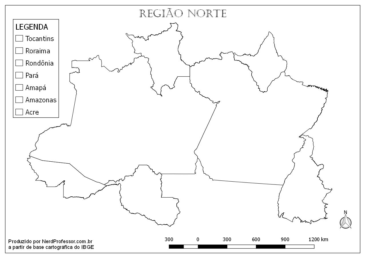 Mapa Região Norte Para Colorir – Nerd Professor