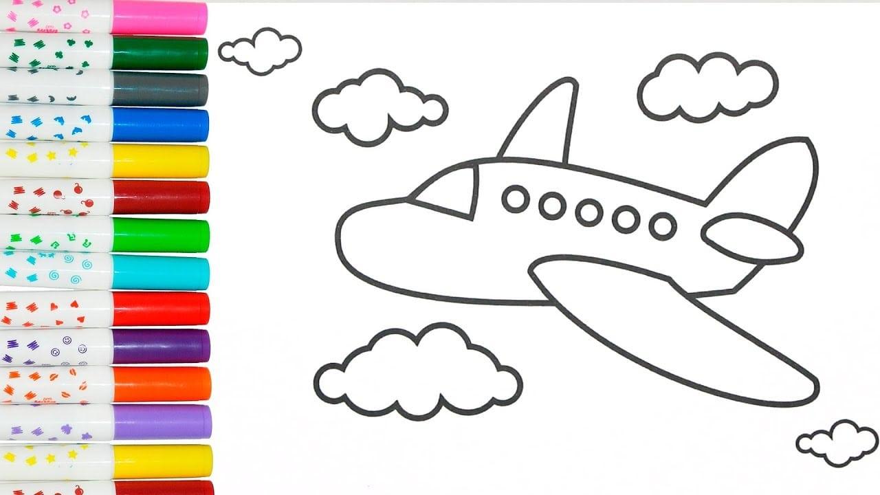 Colorindo AviÃo Nas Nuvens Para CrianÇas
