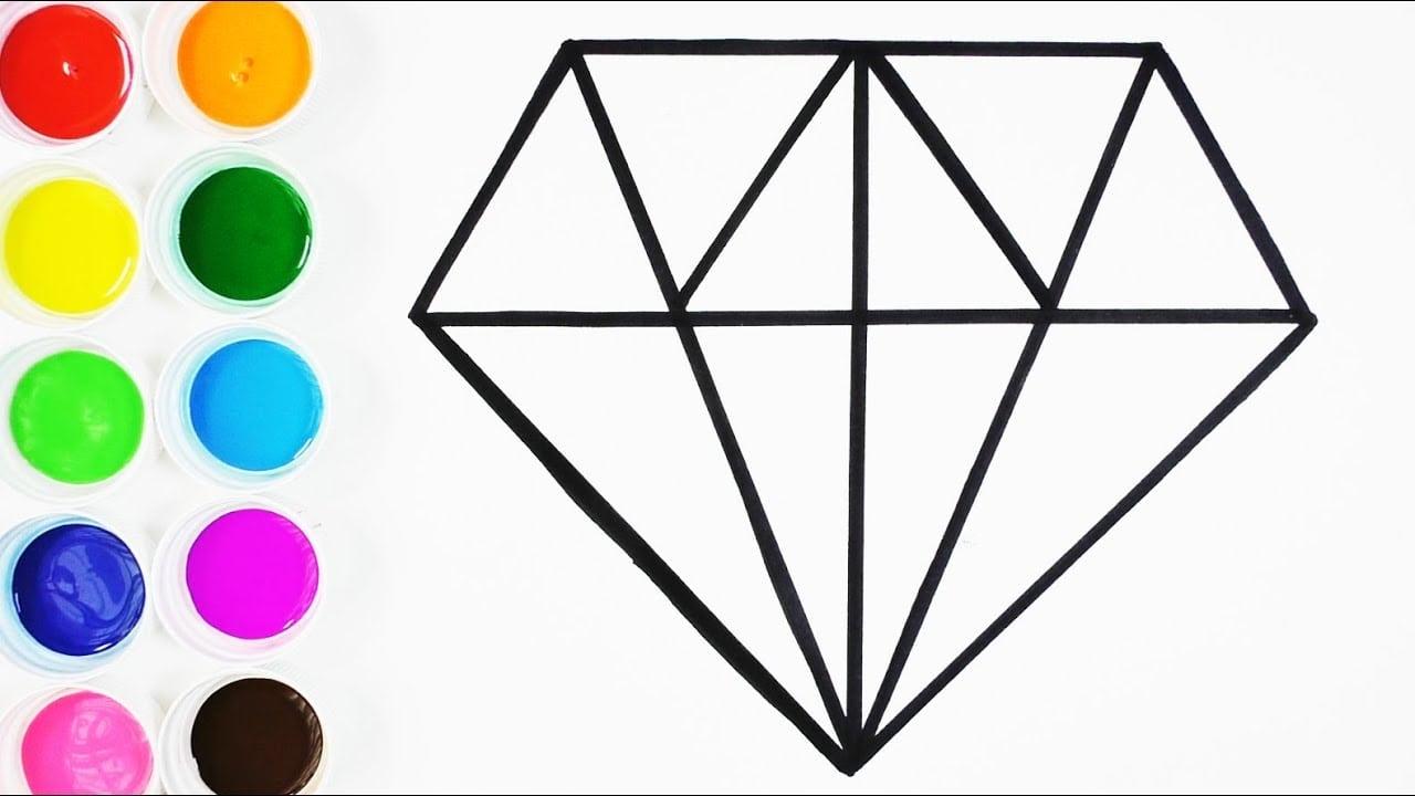 Cómo Dibujar Y Colorear Un Diamante De Arco Iris