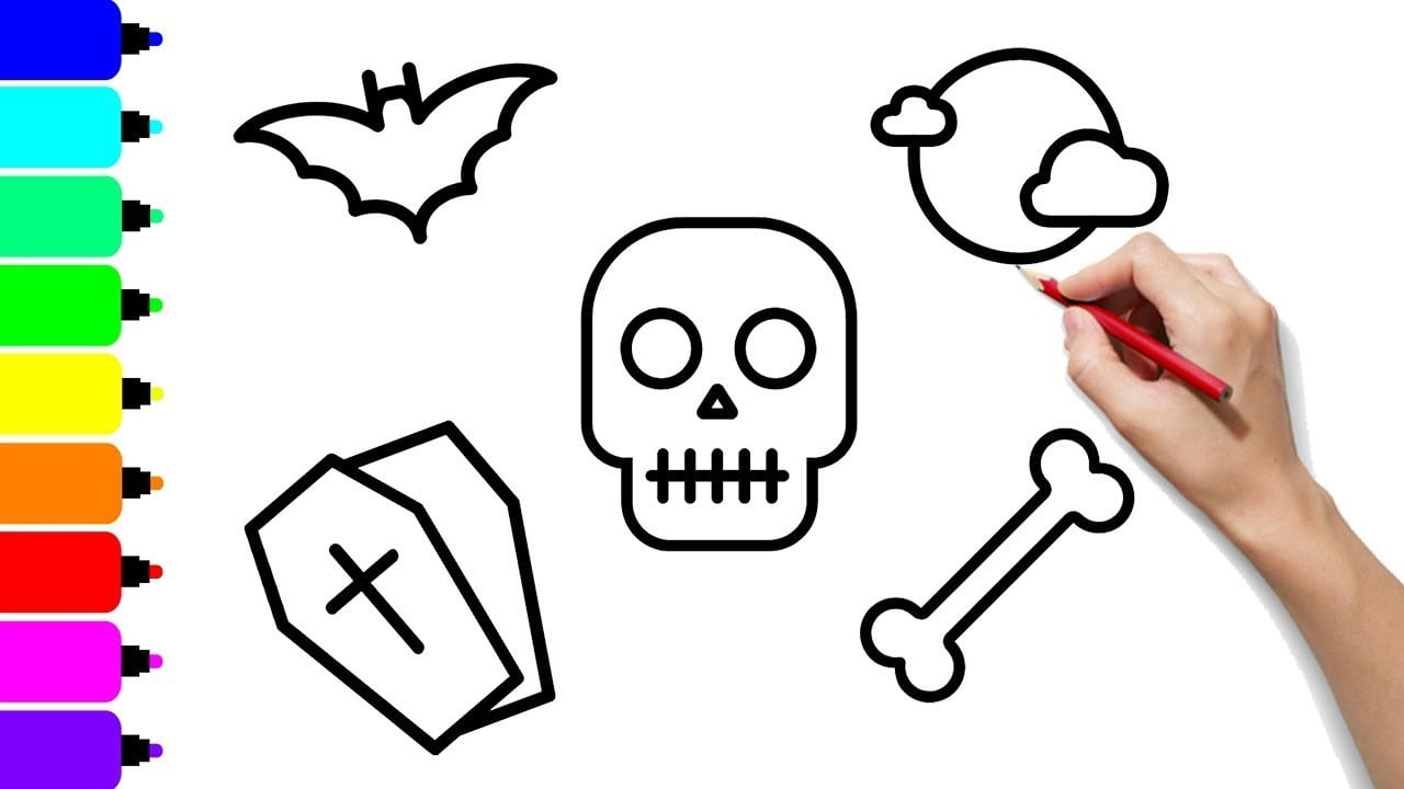 Como Desenhar E Colorir Itens De Halloween