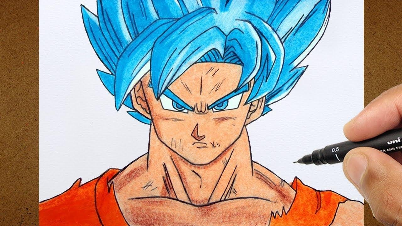 Como Desenhar E Pintar Goku Super Sayajin Blue, Dragon Ball Super