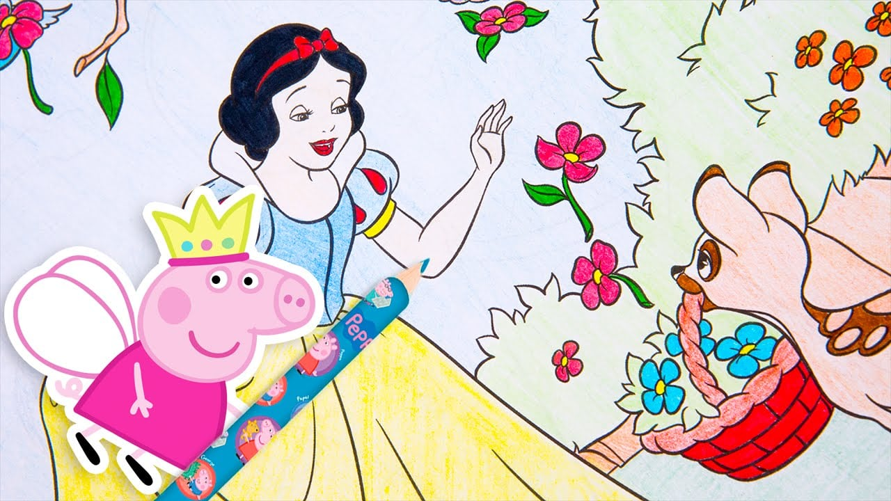 Peppa Pig Lápis De Cor Colorindo Branca De Neve Princesas Disney