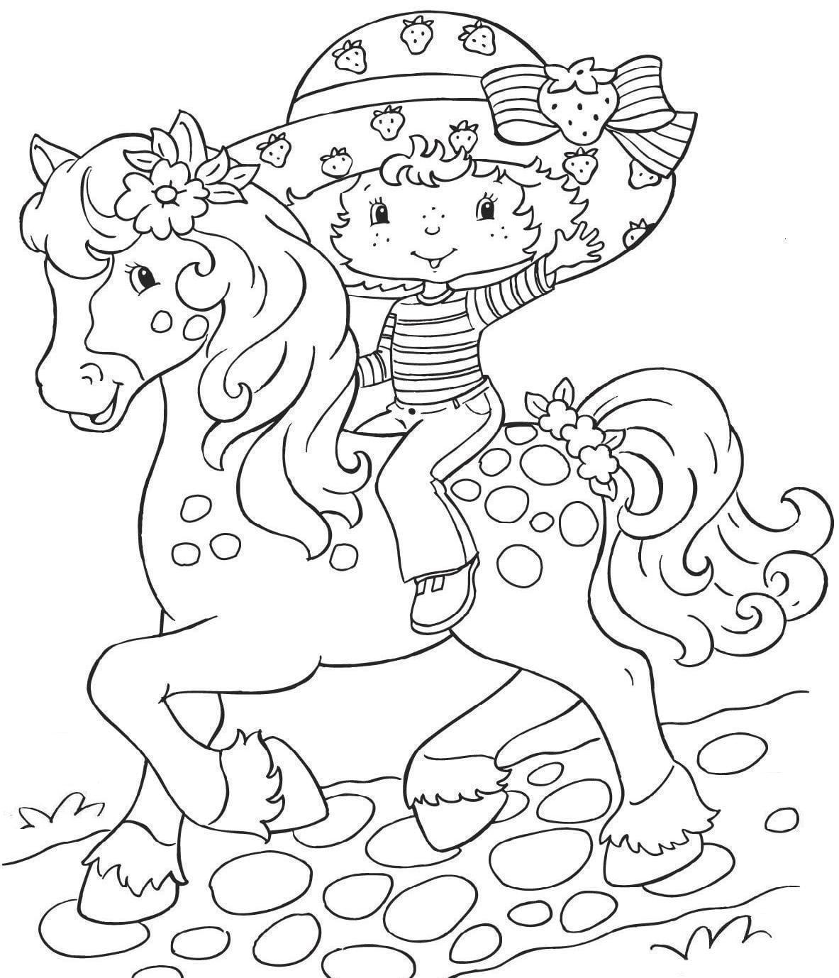 Desenho De Moranguinho A Cavalo Para Colorir