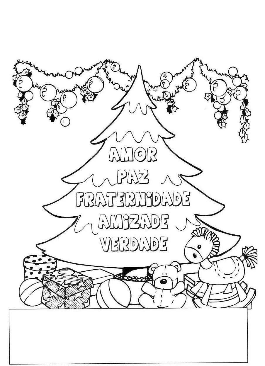 cartao de natal para colorir