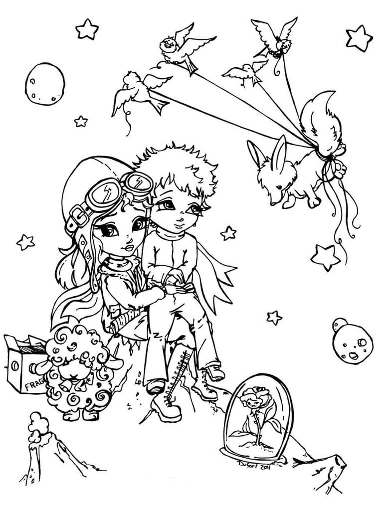 Desenho De Pequeno Príncipe E Amigos Para Colorir