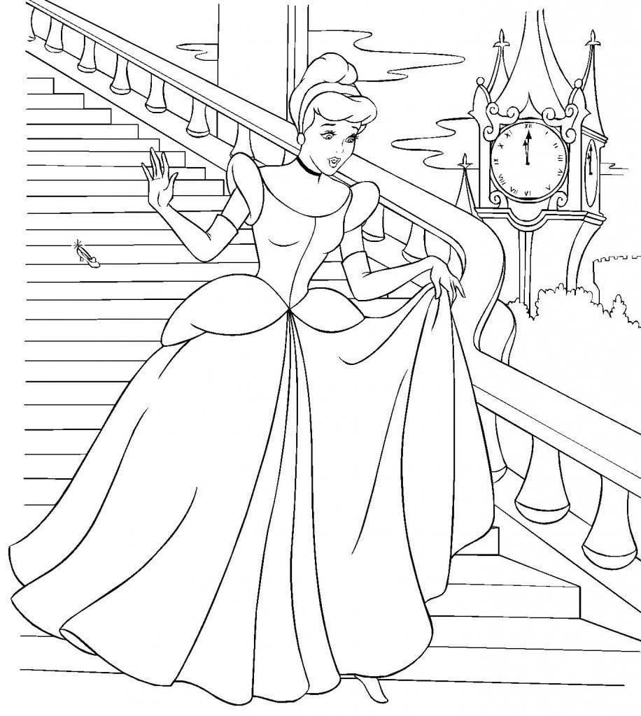 Princesa Cinderela – Desenhos Para Colorir