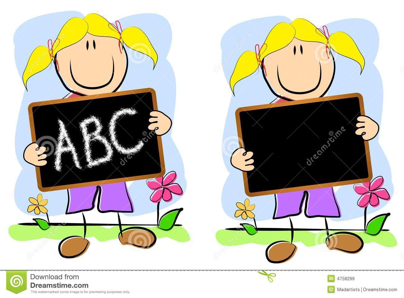 Quadro Infantil Da Menina Do Desenho Ilustração Stock