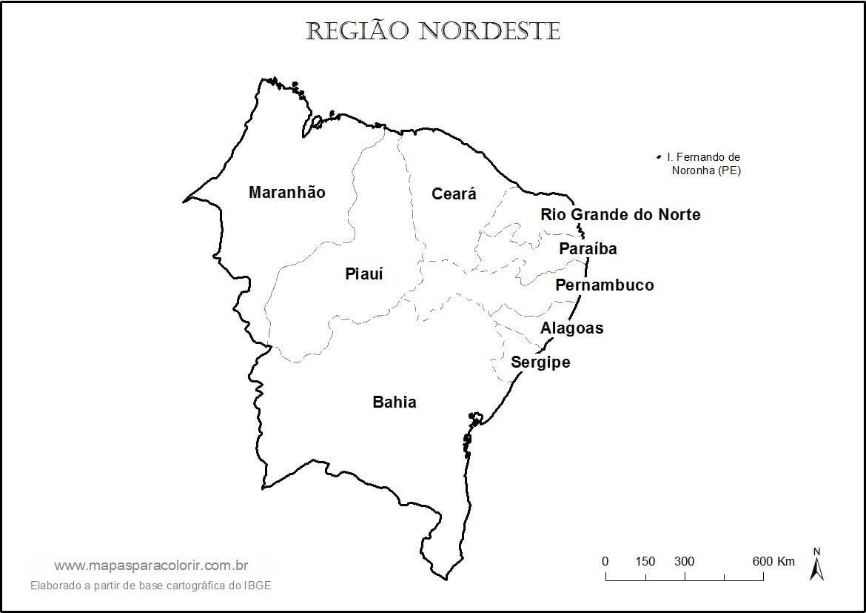 Mapas Da Região Nordeste Para Colorir