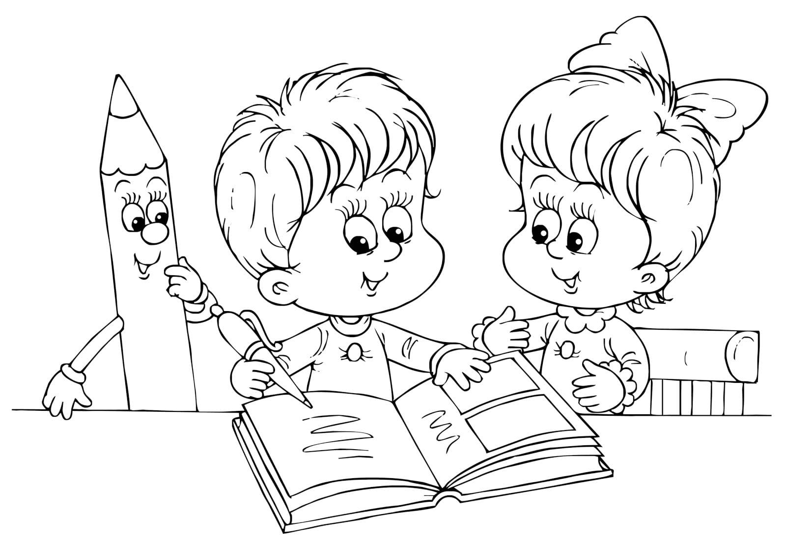Desenhos De Crian As Estudando Para Colorir