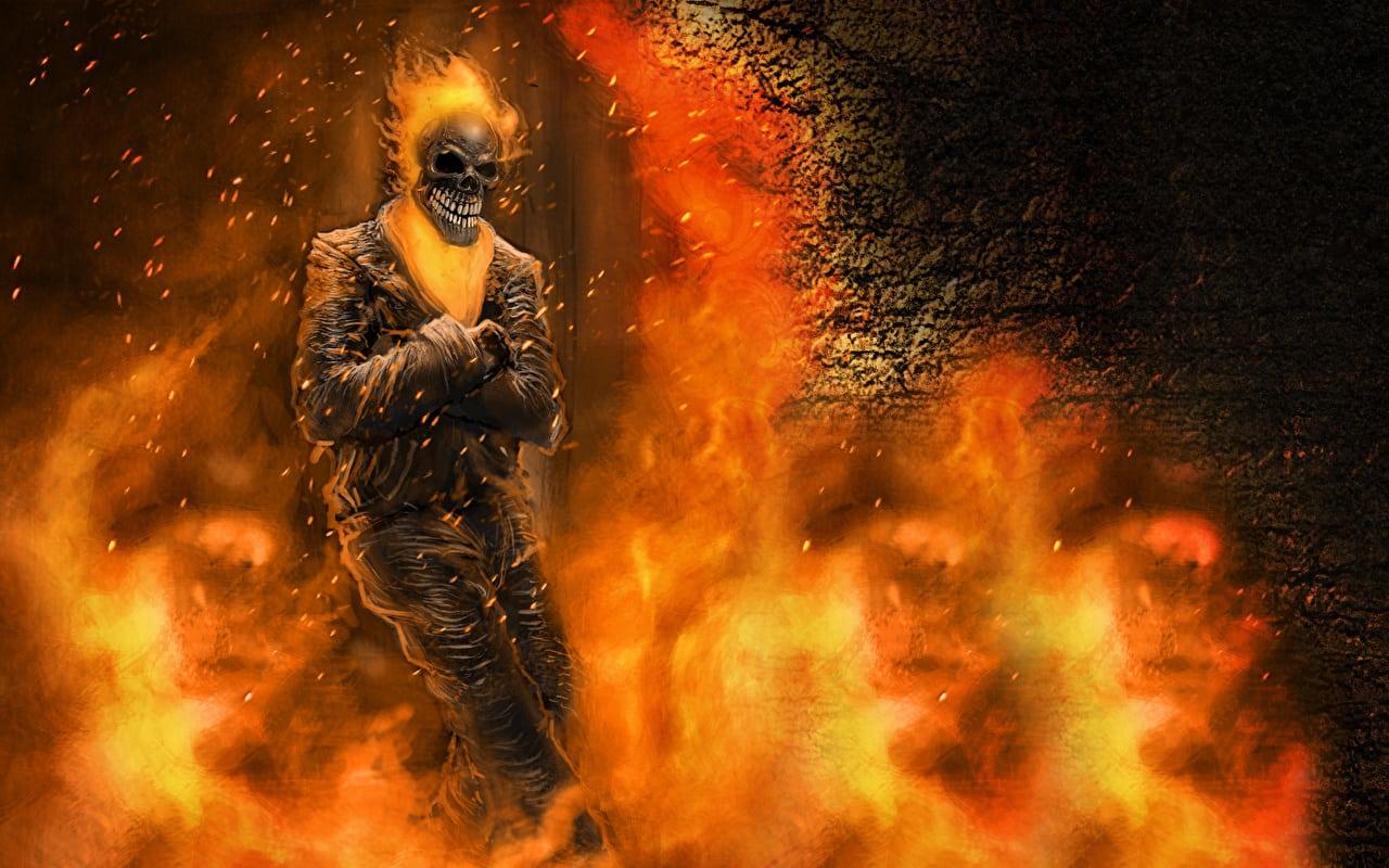 Papeis De Parede Motoqueiro Fantasma Fogo Esqueleto Filme Baixar