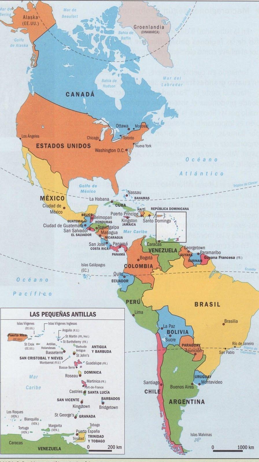 Resultado De Imagem Para Mapa Do Continente Americano