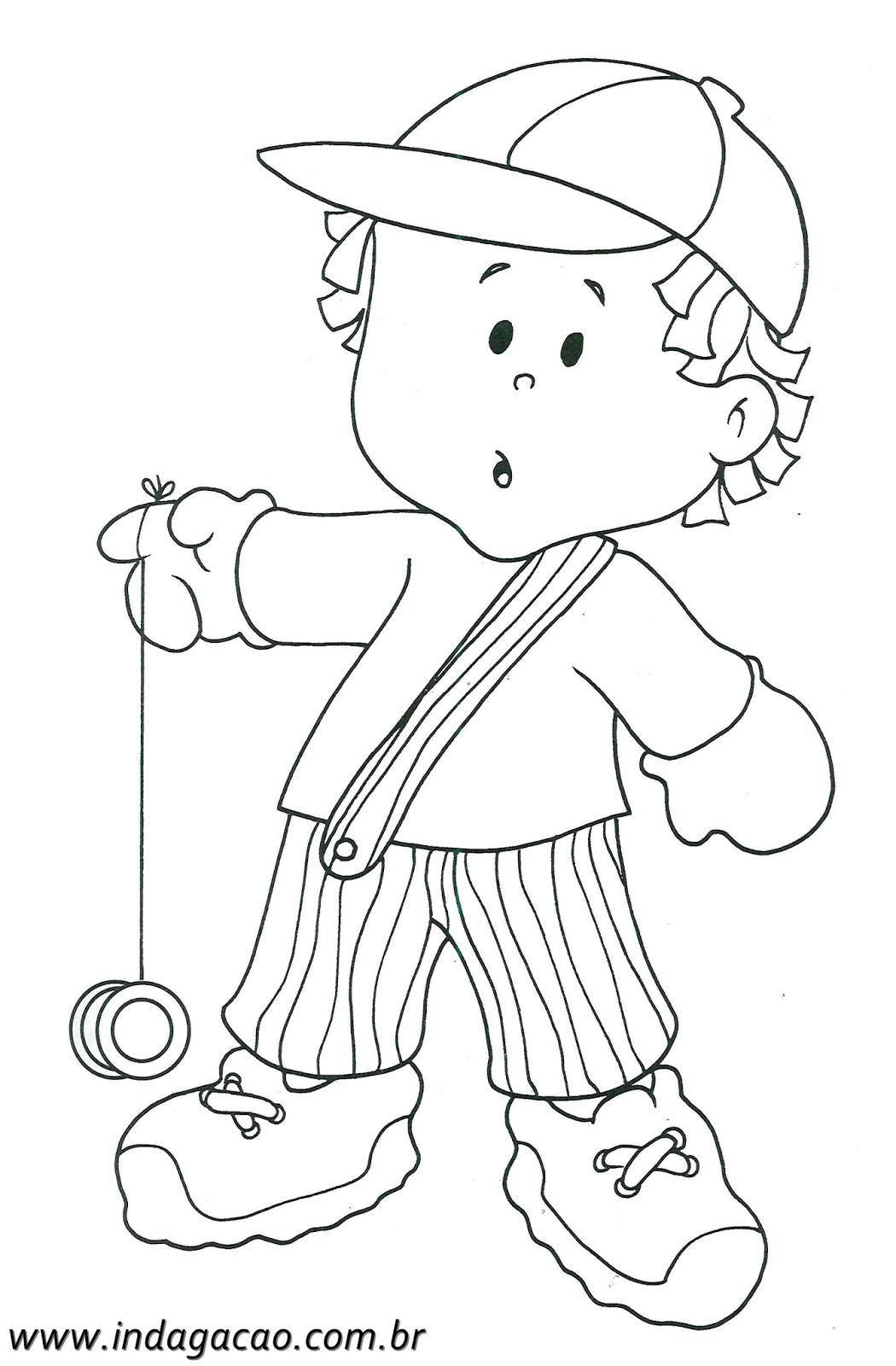 Desenho De Menino Brincando Com Ioiô Para Colorir – Baixar