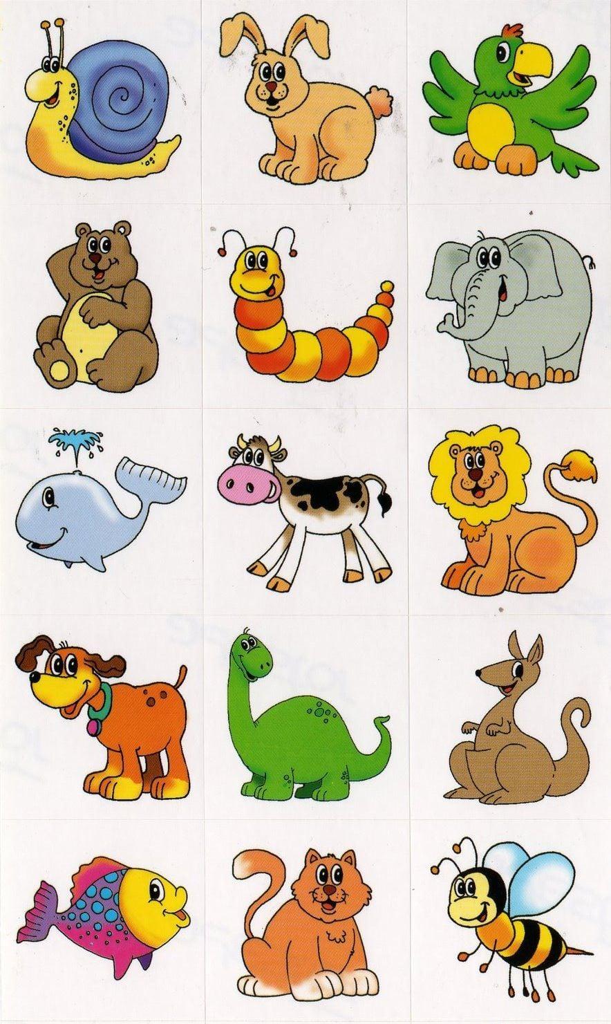 Cartela Com Vários Animais Coloridos